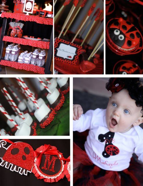 More cute ideas! website has even more ideas: Bday Ideas, Birthday Parties, 1St Birthday, Ladybug Party, Party Ideas, Ladybug Birthday, Birthday Ideas, Birthday Party