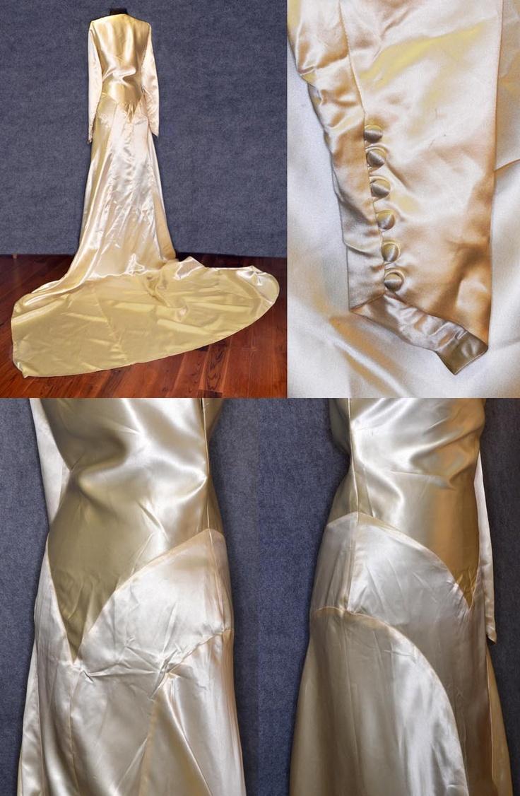 Antique vintage liquid satin wedding dress 1920 white ...