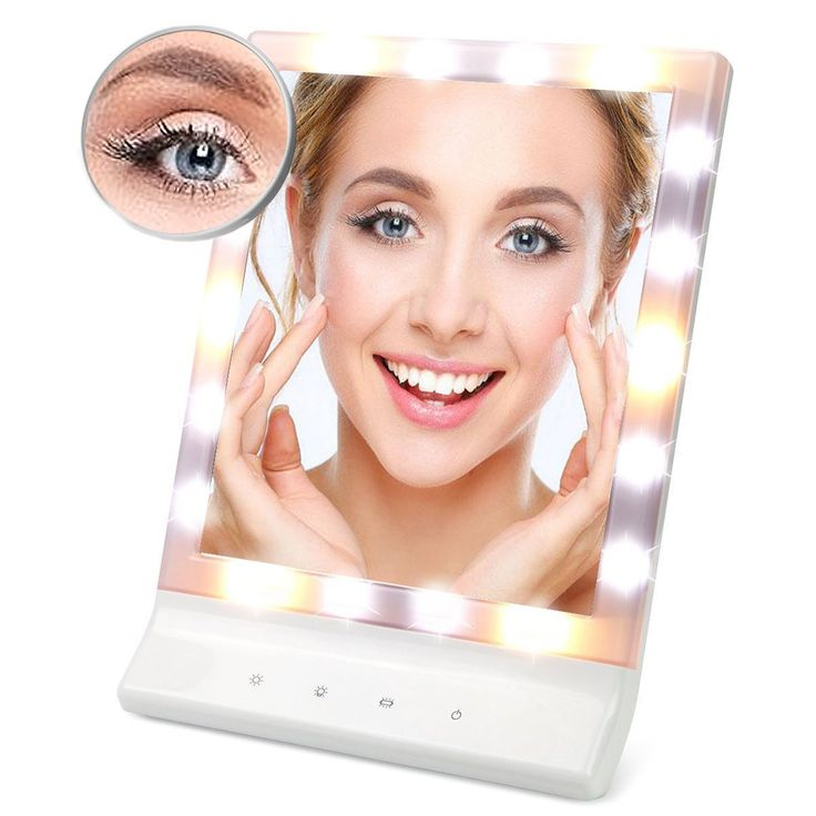 FLYMEI Multiple Illumination Settings Touch Screen LED Lighted Makeup Mirror with Removable 10x Magnifying Vanity Mirror, Wall Mount Cosmetic Mirrors with Lights (White). ✿ TOP Quality & Long lasting: Built-in 18pcs adjustable LED bulbs, comes with (3) different illumination settings. Each setting is designed with color-corrected lighting that will match daytime, evening, home or office environments. Made from extra thicken ABS plastic with UV coating, nice looking and resistance to…