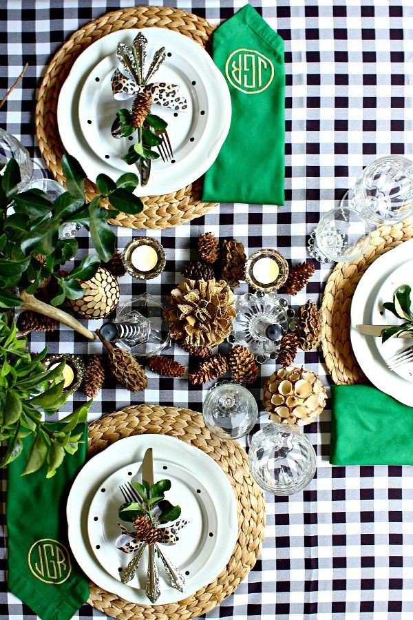 Dimples and Tangles: GINGHAM 2 WAYS {RUSTIC & GLAM} - THANKSGIVING TABLE