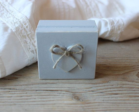 Ring Bearer Box / Gray Wooden Box / Rustic Wedding by NeliStudio