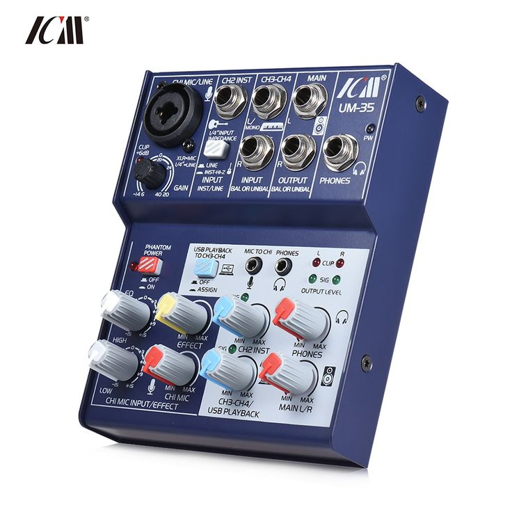ICM UM-35 Compact Size 4-Channel Sound Card Mixing Console Sales Online blue - Tomtop.com