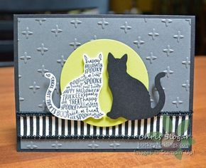 """Continuing with my week of sneak peeks...this time, the cat from """"Spooky Cat"""". This is a super-easy card, thanks to the Cat Punch that will be available from the 2017 Holiday Catalog. The black and white striped ribbon will also be available from the Holiday Catalog starting September 1. It is a wired ribbon, so it will be great for decor and packages. It coordinates with some of the Christmas papers that are coming, but I like it here for Halloween, too. I cut the Lemon Lime Tw..."""