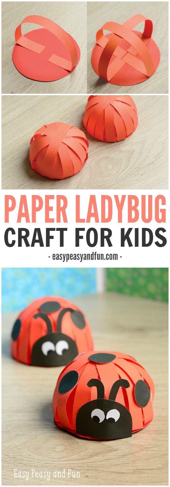 Papier Ladybug Craft für Kinder. Was für ein Spaß Frühlingshandwerk für einen