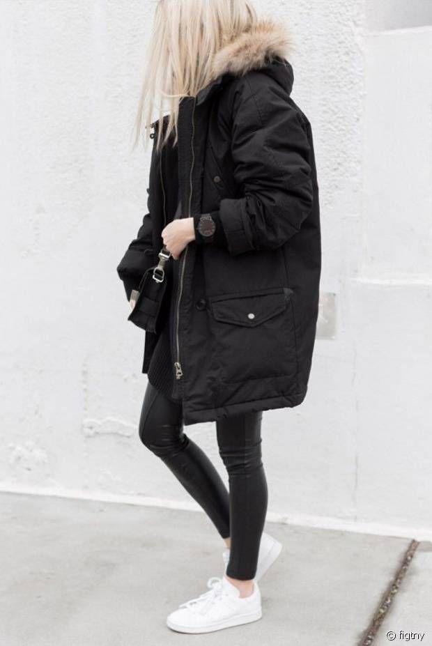 Je valide ce total look noir et blanc urbain / Black look + white sneakers