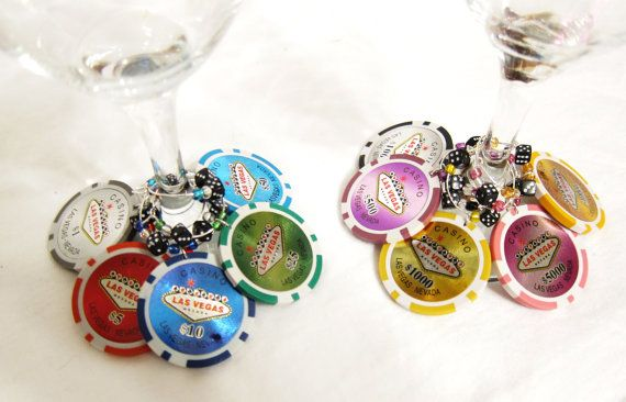 Las Vegas real clay POKER CHIP and dice Wine Charms  by sary7422, $12.99