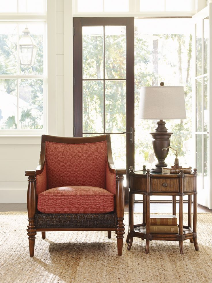 Pencil rattan table with green penn shell and red accent chair from Tommy  Bahama Home # - 25+ Best Ideas About Red Accent Chair On Pinterest Red Chairs
