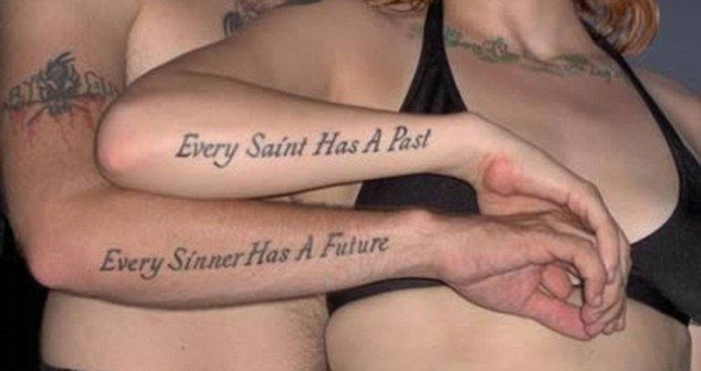 Matching Tattoo Quotes For Sisters   ... inking! The embarrassing matching tattoos that brand couples for life