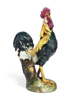 A FRENCH MAJOLICA MODEL OF A ROOSTER (POULE DE HOUDAN)  . 19th cent. mark  for Jerome Messier,the model by  Paul Comolera. Christie's