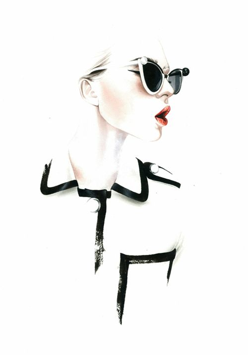 Great watercolor illustration by António Soares of a Chanel shirt.                                                                                                                                                      More