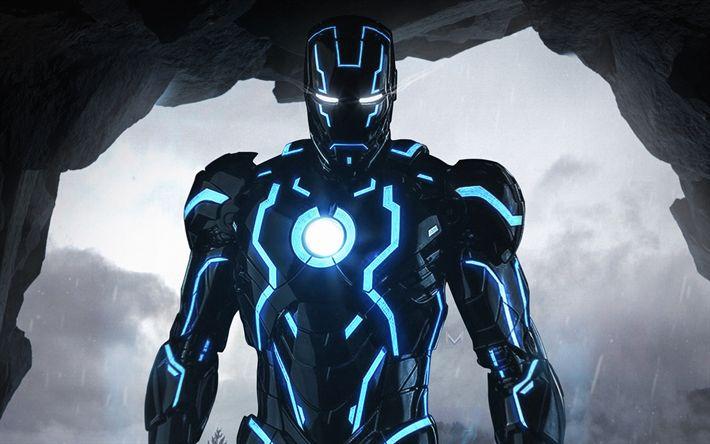Download wallpapers 4k, Iron Man, creative art, blue neon ...