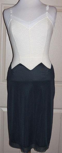Vintage 60s MOVIE STAR White Black Nylon Tricot Satin Lace Full Dress Slip 34 #MovieStar #Slip