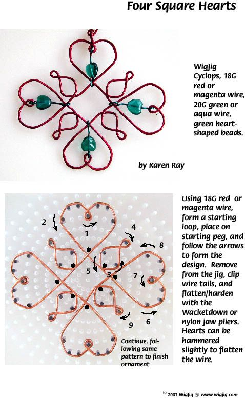 Four Square Wire and Beads Hearts wire ornament made with #WigJig Jewelry Making Tools, beads and jewelry supplies.