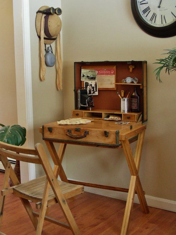 Suitcase Desk, Suitcase Table, Writing Desk, Campaign Desk, Safari, Explorer Style on Etsy, $599.00