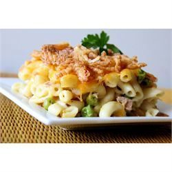 Easy tuna casserole -- needs some tweaking to be pesco-vegetarian.