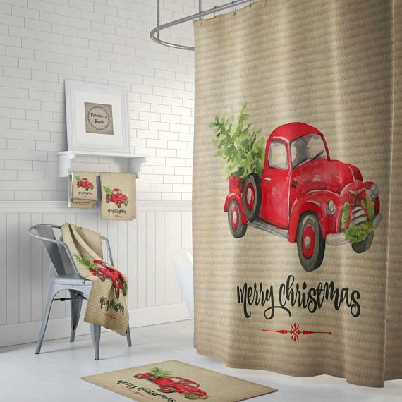 Red Truck With Christmas Tree Farmhouse Shower Curtain Rustic