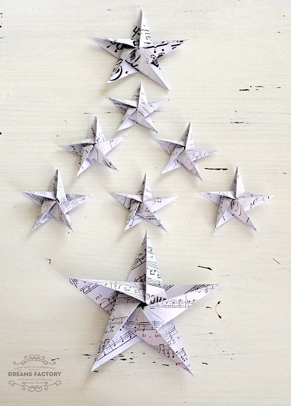French DIY Paper Stars Ornaments   Welcome your tree by adorning it with a paper decorations DIY tutorial that will make it feel right at home.