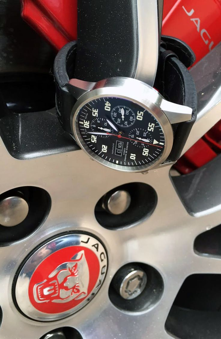 Maurice de Mauriac Chronograph Modern on Jaguar wheel. High quality watches for men and women made in Switzerland.
