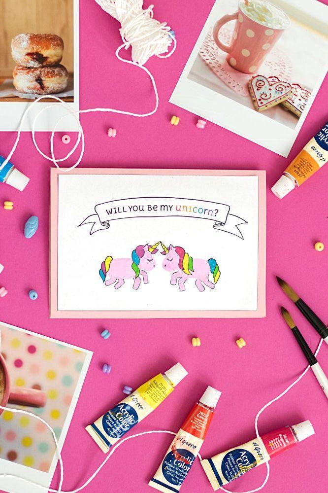 Diy Einhorn Karte Valentinstag Karte Zum Stempeln Pinterest