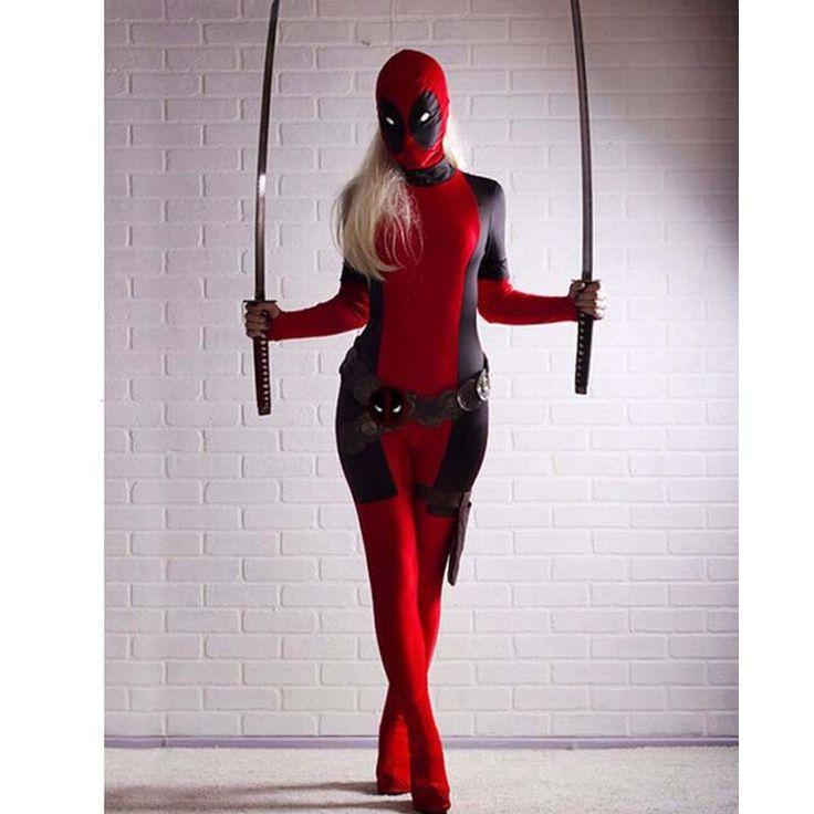 Deadpool Costume Wholesale,2016 Cool Lady Deadpool Costume Red Full Body Spandex Girl/Women/Female Deadpool Superhero Cosplay  #Affiliate