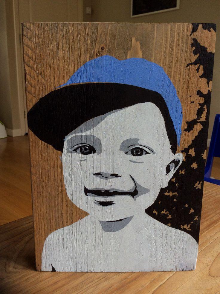 Portret op hout!