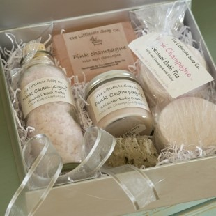 The Littlecote Soap Co Pink Champagne gift set.