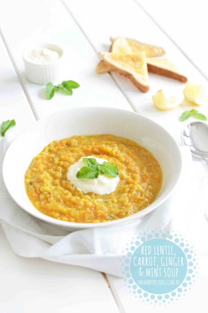 {NEW} RED LENTIL, CARROT, GINGER & MINT SOUP: A delicious, hearty and satisfying soup to warm bellies of all ages this winter. #onehandedcooks