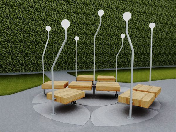 cool outdoor lamp benches