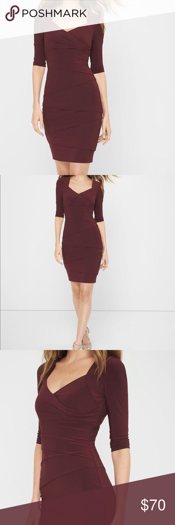 """NEW 3/4 SLEEVE INSTANTLY SLIMMING DRESS Three quarter-sleeve instantly slimming dress. Built-in shapewear smoothes from the lining creating a sleek foundation. Lined. Color: Burgundy. Polyester/spandex. Machine wash. Approx. 37.5"""" from shoulder.                                                      Note: Due to high spandex content, may want to go up one size for better fit. White House Black Market Dresses"""