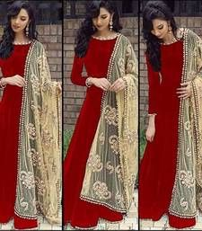 Buy maroon silk embroidered unstitched salwar with dupatta party-wear-salwar-kameez online