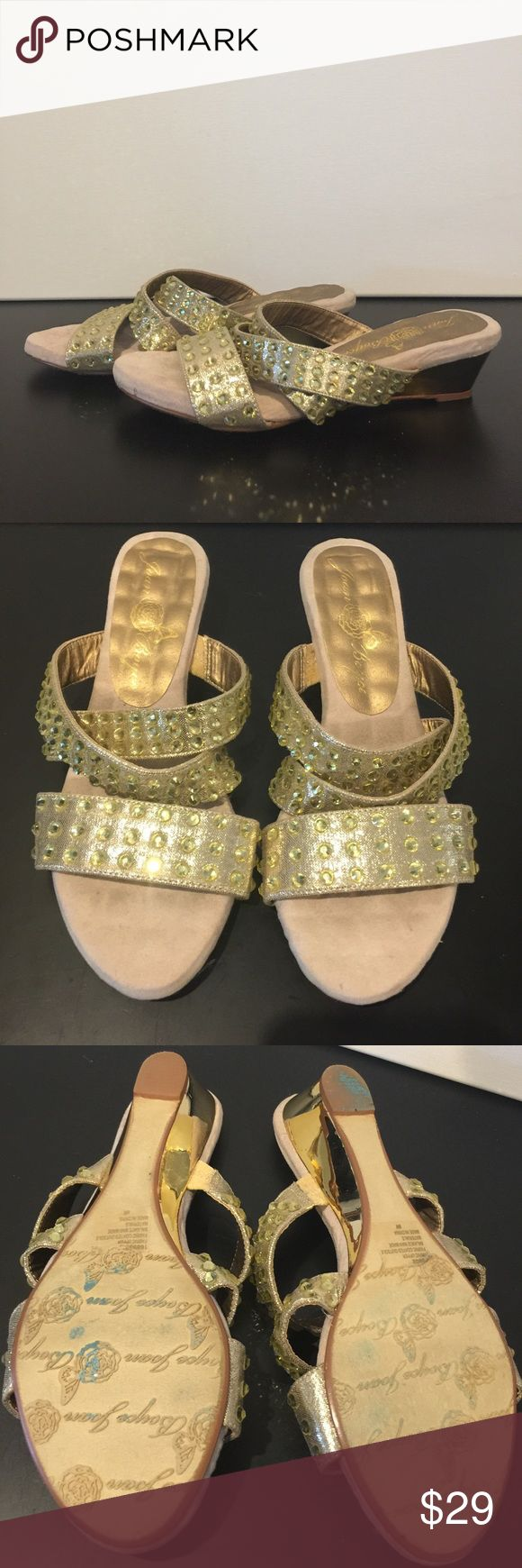 Black sandals littlewoods - Joan Boyce Gold Blingtastic Low Wedge Sandal 8w Bling Love These Made By Joan