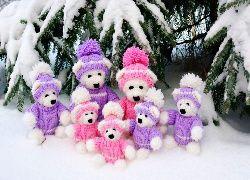 Pluszowe, Misie, Zabawki, Świerk, Gałązki, Śnieg