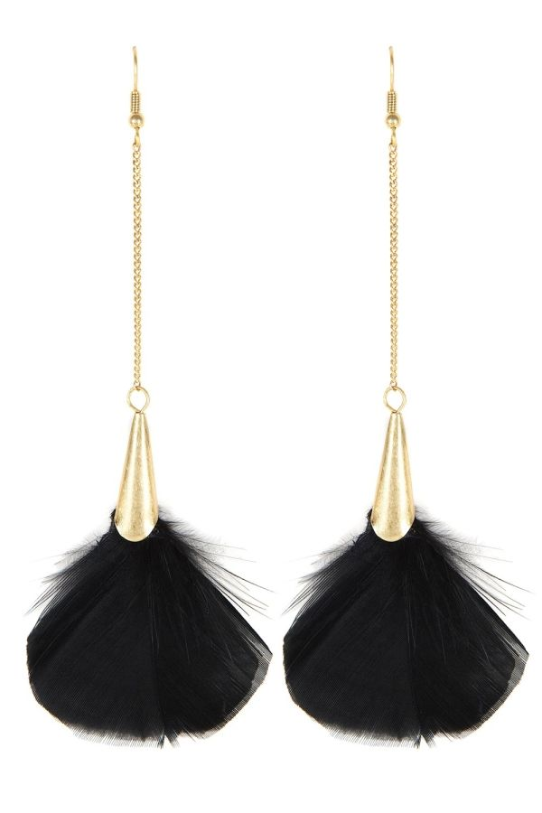 Oasis Jewellery | Black Fan Feather Earrings | Womens Fashion Clothing | Oasis Stores UK by DaisyCombridge