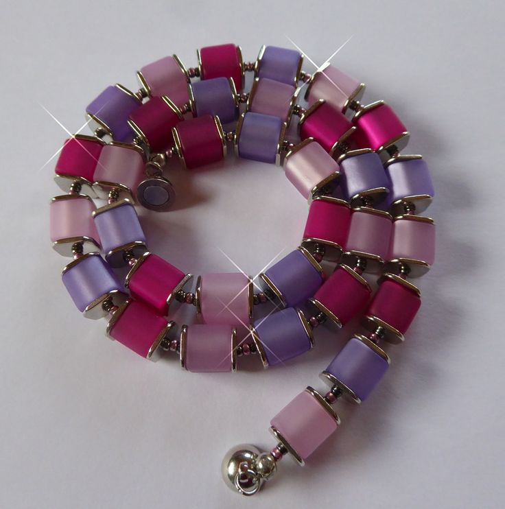 Halskette aus Polaris-Würfeln, rosa/lila von SanDesign4u auf Etsy