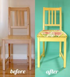 add upholstery to chairs.  Cut MDF board to size, lay on chair, drill four holes through board and seat. Take board off seat and put carriage bolts Through board. Glue on foam (already cut to size), staple on fabric, and attach to chair.