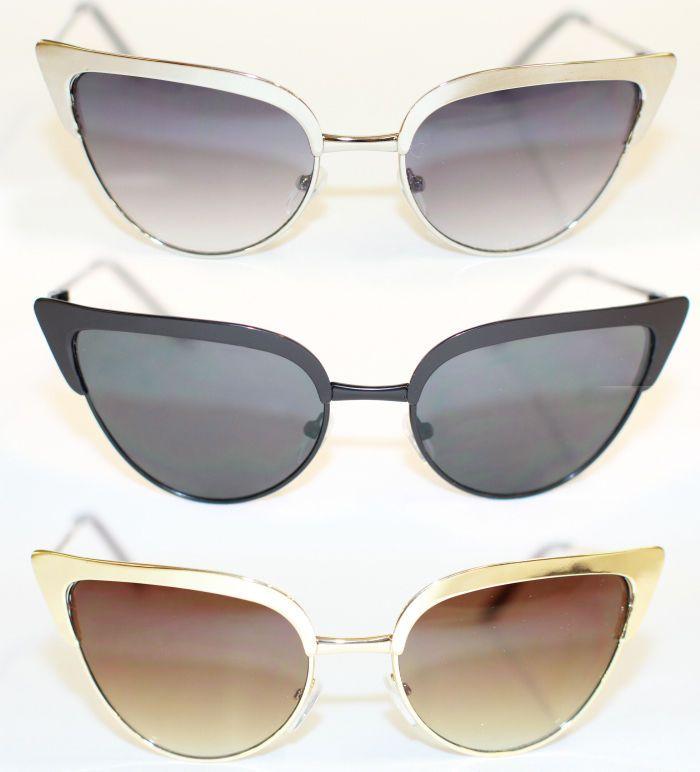 Cat Eye Sonnenbrille voll metall gold silber Rockabilly 50 s Wimpern Sil RAR 479
