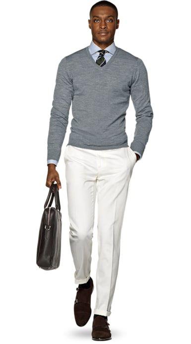 Grey merino v-neck white chino pants