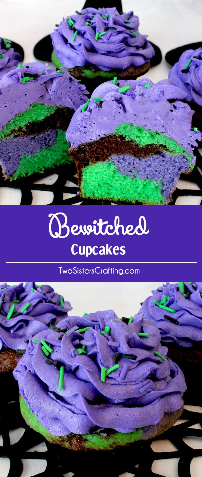 Our Bewitched Cupcakes are beautiful and colorful Halloween Treats that are easy to create and will make a big impact at your Halloween party. Bright and colorful and super tasty, these will be your family's favorite Halloween Dessert. Pin these witchy Halloween Cupcakes for later and follow us for more fun Halloween Food Ideas.