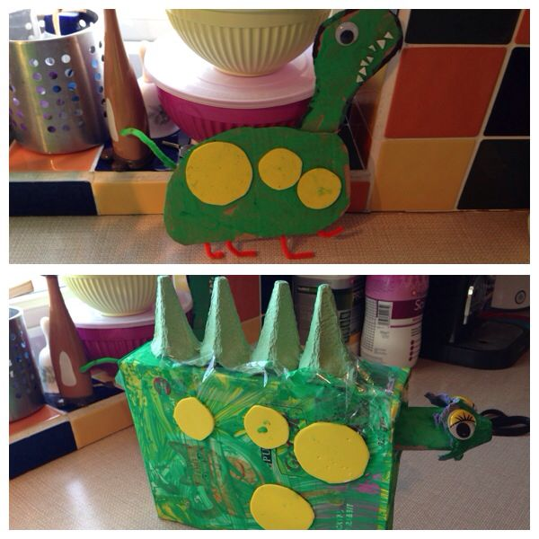Today we made some junk model dinosaurs! It took us all morning and we had lots of fun!