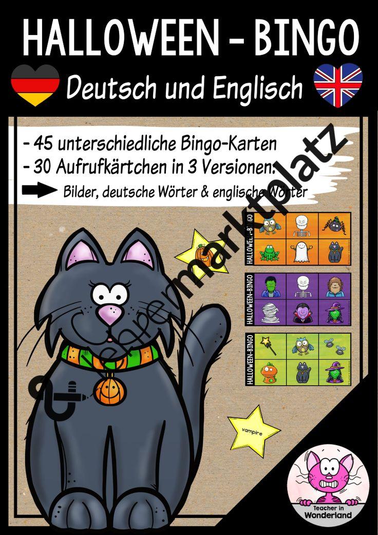 Halloween-Bingo für den Englisch- oder Deutschunterricht (DAZ)