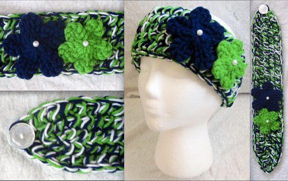 Crochet Seattle Seahawks Green Blue & White headband ear-warmer by MiProcesoCreativo, $11.00