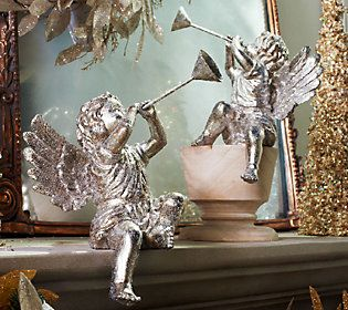 2-Piece Cherubs with Glittered Antiqued Finish