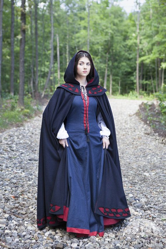 Medieval Womens Cloak With Hood Forget Me Not Is Made Of