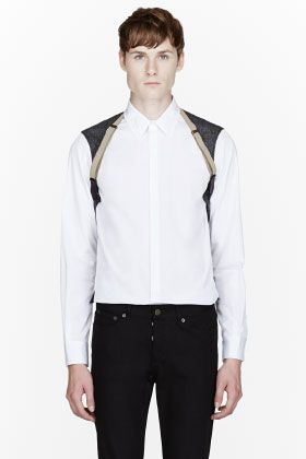 Dsquared2 White Trompe L'oeil Carpenter Shirt for men | SSENSE