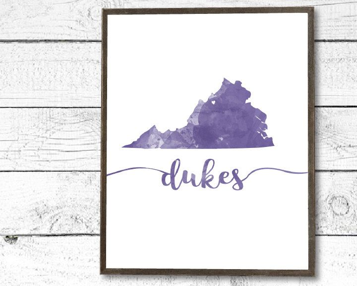 JMU Dukes watercolor printable, graduation gift, dorm decor, by Farmhouse Print Studio https://www.etsy.com/listing/476252432/jmu-james-madison-university-dukes