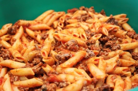 Penne Pasta with ground beef for Baked Ziti Recipe: very easy and very good. Makes a generous amount of ziti for that sized dish. I definitely needed (but didn't have) more mozzarella cheese. I used a cheddar blend.. Would have been better with just mozzarella but still great!