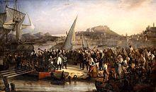 """Napoléon quitte l'île d'Elbe, le 25 févier 1815 -Cent-Jours: période de l'histoire de France marquée par l'éphémère retour de Napoléon, qui tente en vain de rétablir l'Empire en mars 1815. Relégué le 3 mai 1814, après les adieux de Fontainebleau, dans l'ile d'Elbe dont les Alliés lui avaient octroyé la dérisoire souveraineté, Napoléon se résigne mal à """"n'être plus rien""""."""