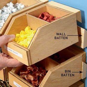 Home DZINE Home DIY | Workshop bins on french cleats, #dzine #franzosischen #klampen #lagerplatze #startseite #werkstatt
