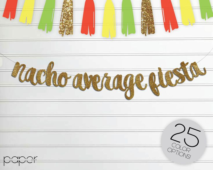 NACHO AVERAGE FIESTA Banner Garland Sign, Custom Glitter, Birthday Party Decor, Fiesta, Cinco De Mayo, Taco Bar, Mexican, Cactus Decorations by Shoppaperdash on Etsy