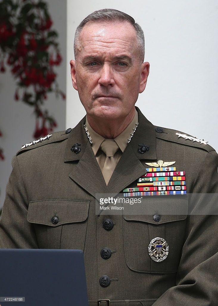 U.S. Marine Gen. Joseph Dunford Jr. stands in the Rose Garden as U.S. President Barack Obama nominated him as the next chairman of the Joint Chiefs of Staff at the White House May 5, 2015 in Washington, DC. If confirmed by the U.S. Senate, Gen. Dunford will replace outgoing Chairman Gen. Martin Dempsey.